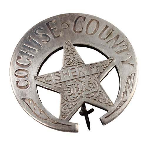 Replica Old West Badge Solid Copper Silver Plated - Sheriff Clothing Men