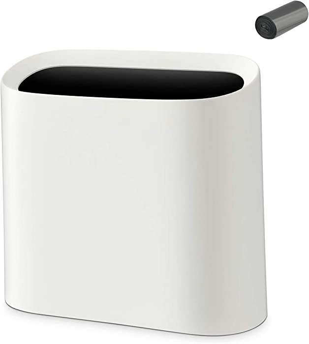 SUBEKYU 2.3 Gal Trash Can for Bathroom, Small Office Garbage Can for Kitchen, Slim Rectangular Waste Bin, Plastic, White