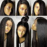 360 Lace Frontal Wig Pre Plucked 150-180% Density Brazilian Human Hair Wigs 360 Wigs with Baby Hair Straight Hair Wig 360 Lace Wig for Updo High Ponytial 18 inches natural Black color