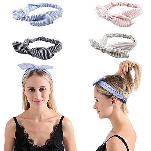 4 Pack Women Girls Headband mens Headband Fashion Criss Cross Head Wrap Hair Band Bow Wired Stretchy Headwraps Yoga Running Hairband Sports Bow Knotted Flower Shower Headbands