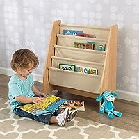 Color natural KidKraft 14221 Librer/ía infantil de tela y madera con 4 compartimentos de almacenaje muebles para salas de juego y dormitorio de ni/ños