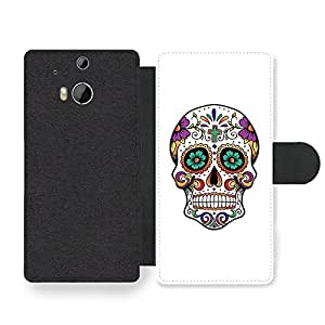 Cool Mexican Sugar Skull Hipster Faux Leather case for HTC One M8