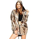 La moriposa Shiny Casual Lightweight Long Sleeve Zip up Hoodie Hip Hop Jacket (Gold)