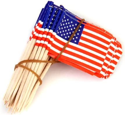 amleso 100個 カップケーキピック アメリカ国旗デザイン ケーキトッパー