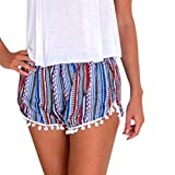 Funic Women's Hot Pants Summer Casual Shorts High Waist Beach Short Pants (XL, Blue)
