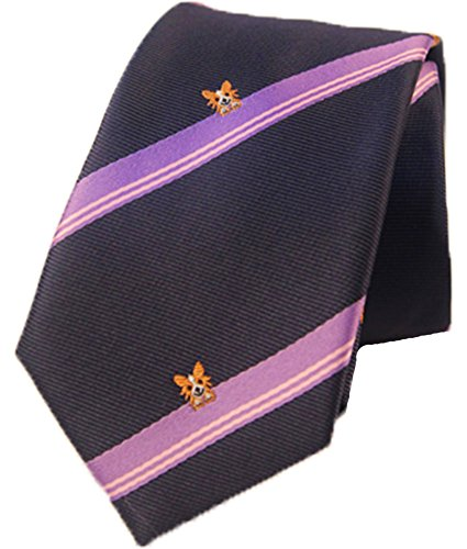 Flairs New York Animal Lovers' Collection Neck Tie (Midnight Blue / Purple Stripes [Pogo the Poodle]) (Poodle Tie)