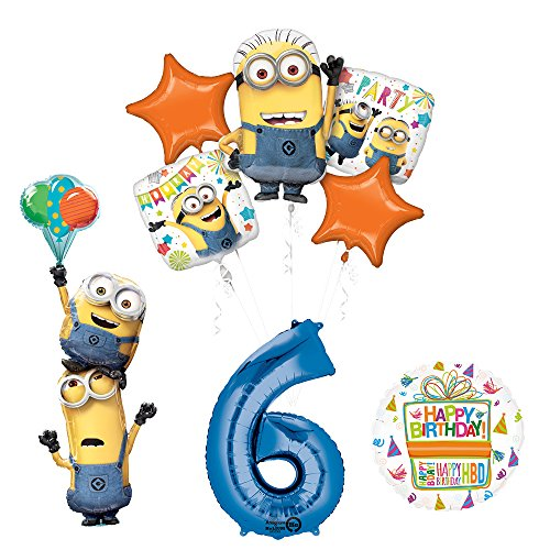 Despicable Me 3 Minions Stackers 6th Birthday Party Supplies and balloon Decorations]()