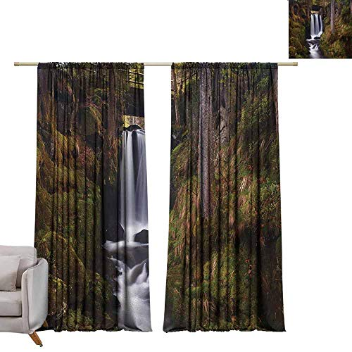 Curtain Panels Waterfall,Magical Waterfall Under Old Wooden Bridge in Forest Exotic Nature Decor,Green Brown White W84 x L96 Grommet Curtain for Bedroom