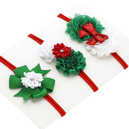 LoveMyAngel Baby Girl Nylon Christmas Headbands / Green Red White Sequin Bowknot - Pack of 3 (Satin flower set) (Headband Red Green)
