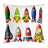 Lunarable Boy's Room Throw Pillow Cushion Cover, Colorful Space Crafts with Variety of Shapes and Sizes Rockets Space Culture, Decorative Square Accent Pillow Case, 16 X 16 Inches, Multicolor