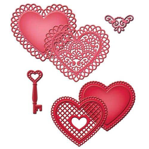 Spellbinders S5-204 Shapeabilities Lace Hearts Die (Die Cut Valentine Card)