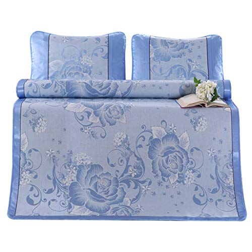 Ranoff PeonyIce Silk Seat Three-Piece Breathable Ice Silk Sleeping Crib Mattress Mat Summer Cool Pad with Pillow (Blue) ()