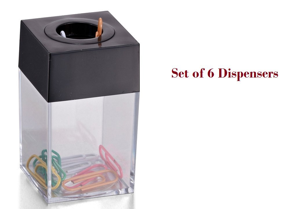 Officemate OIC Small Clip Dispenser with Magnetic Top, Clear/Black (93687) Pack of 6