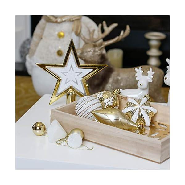 Valery Madelyn Palle di Natale 90 Pezzi di Palline di Natale, 3-10 cm Eleganti Ornamenti di Palla di Natale Infrangibili Bianchi e Oro per la Decorazione Dell'Albero di Natale 7 spesavip