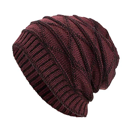Toou Women Men Winter Wool Knit Ski Beanie Skull Caps Hat (Wine)
