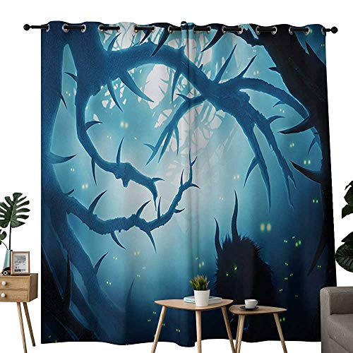 NUOMANAN Blackout Curtain Panels Window Draperies Mystic,Animal with Burning Eyes in The Dark Forest at Night Horror Halloween Illustration,Navy White,for Bedroom, Kitchen, Living Room 54