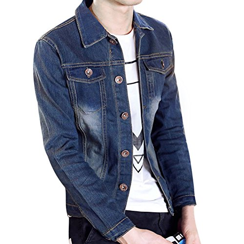 Varsity Jacket Denim - Chen Men's Fashion Classic Denim Jacket Slim Fit Dance Coat Flap Pockets (US 36)