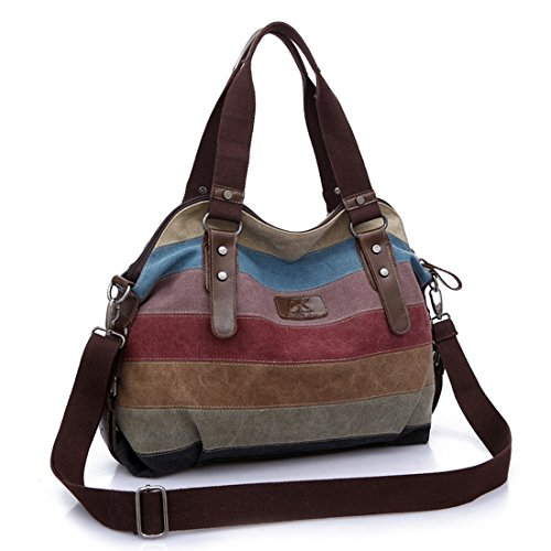 Tote for Handbag Canvas Womens Shopping Multi Shoulder Sports Beach Bag Bags Travel Striped Color Large 8nxUvfx