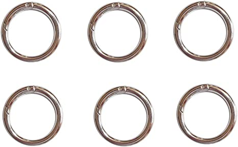 Sturdy Alloy Spring O Ring,Spring Clip Round Carabiner,Metal Circle Trigger Rings Firm Clasp Snap Hook Key Ring Buckle Fastener,Range 3//4 inch to 2 inch Size 1.1 Silver, 28mm