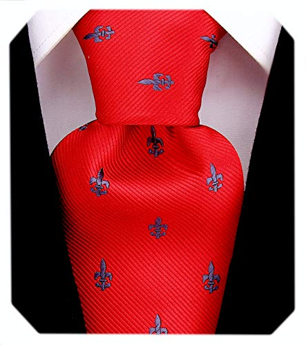 Red Fleur De Lis Ties for Men - Woven Necktie for Him - Red and Gray Tie