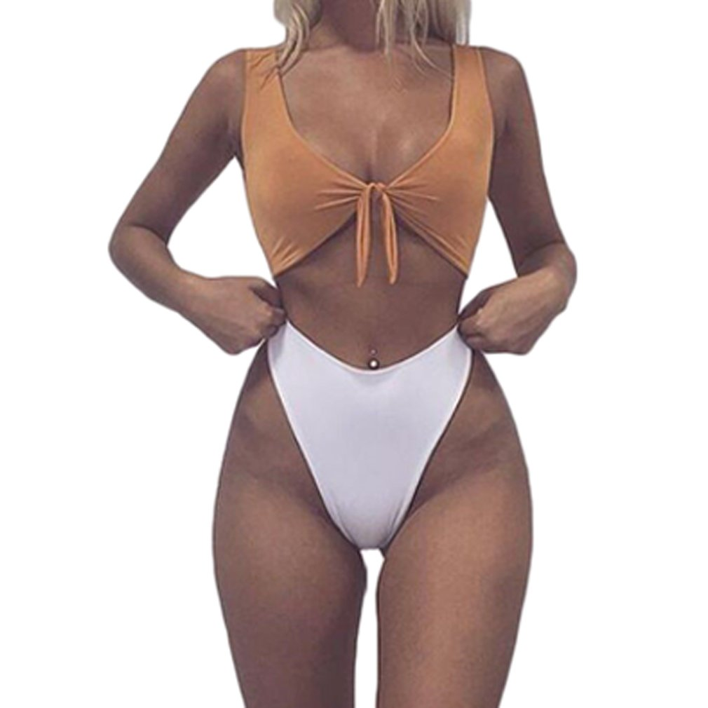 17443485eec Amazon.com: BEAdressy Women Tie Knot High Waisted Thong Bandage 2PCS Bikini  Sets Swimsuit Beachwear: Clothing