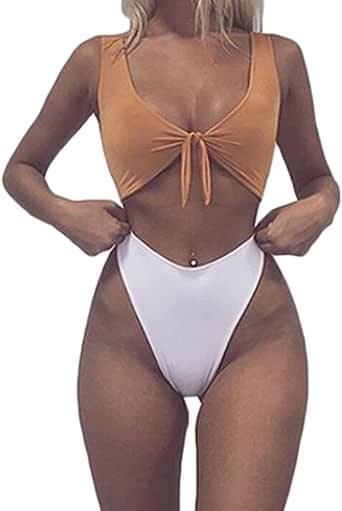 Amazon.com: Women Tie Knot High Waisted Thong Bandage 2PCS