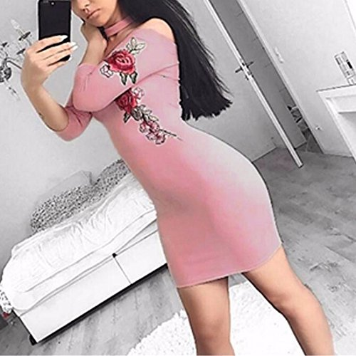 QIYUN.Z Mujeres 3/4 Manga Bordado Flor Bodycon Strapless Wiggle Mini Vestido De Fiesta Rosado