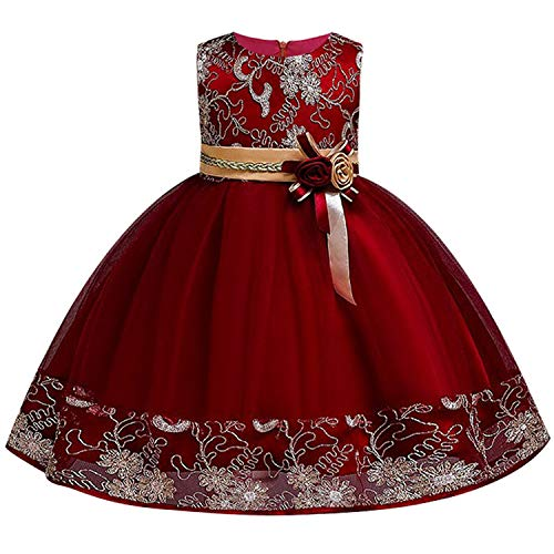 Miao Express Girls Princess Flowers Ball Gown Wedding Dress Party Princess Dress Kids Clothes Girls Dresses for Christmas New Year Costumes,Wine red,8