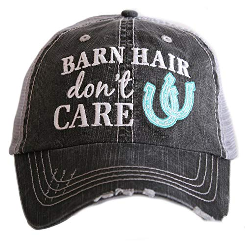 Barn Hair Don't Care Women's Distressed Grey Trucker Hat (Mint)