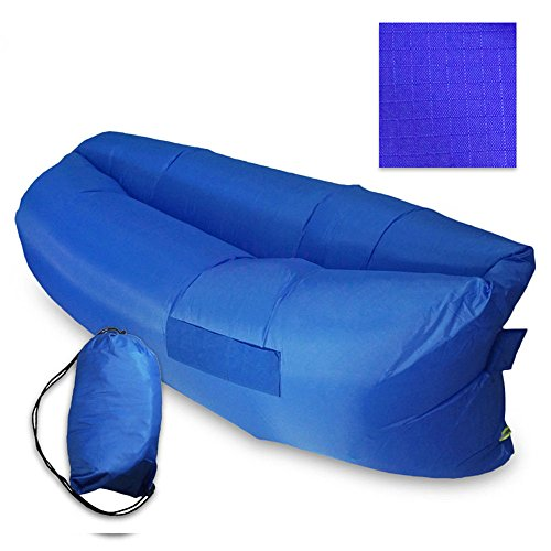 LazyLife Inflatable Outdoor Air Sleep Sofa Couch Portable Banana Sleeping Bag Lazy Bed Hangout Lounger for Camping Beach Seaside Meadow Party Nylon Fabric with Side Pockets