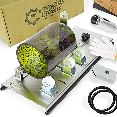 (Glass Bottle Cutter Kit with Adjustable Track-System. Cuts Round, Oval, Square, Large, Small Bottles & Bottlenecks. Easy 3-step process. Tool for cutting Beer, Wine, Liquor Bottles. (Stainless Steel))