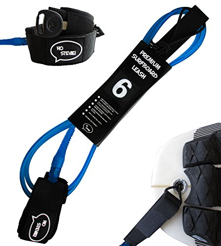 Ho Stevie! Premium Surf Leash [1 Year Warranty] Maximum Strength, Lightweight, Kink-Free, Types of Surfboards. 7mm Thick (1/4) (Blue, 5 Feet)