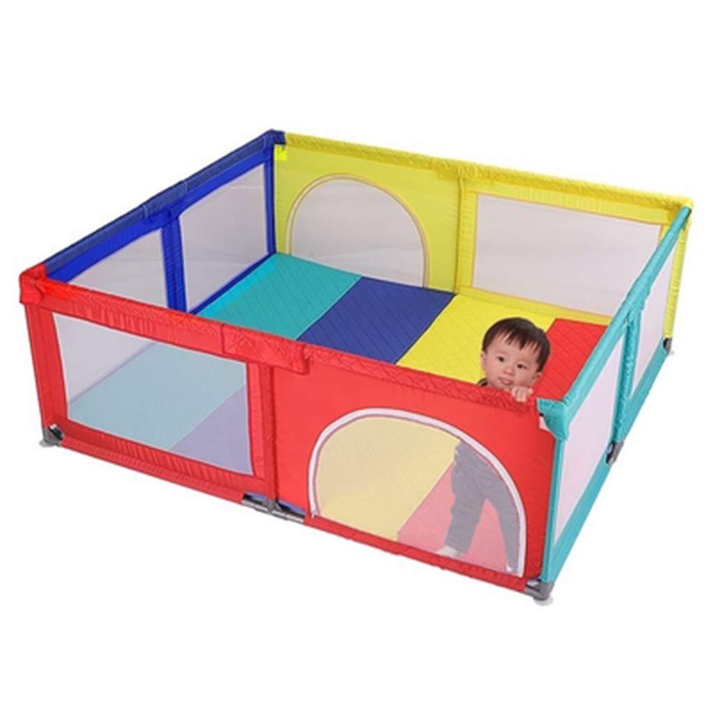 ベビーサークルベビーフェンス 家庭 粉々になったおもちゃの家 子供用セーフティプレーヤー クロールマット フィットフロアマットと明るい色のプレイボール 150×150×70cm  B07SWSGB8L