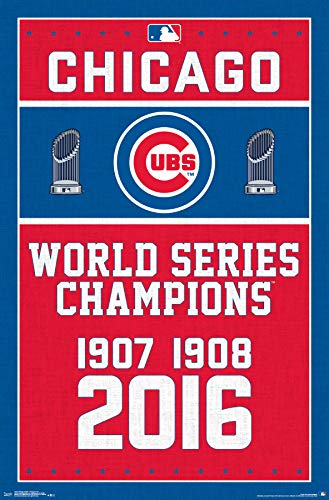 - Trends International Chicago Cubs-Champions Mount Bundle Wall Poster, 22.375