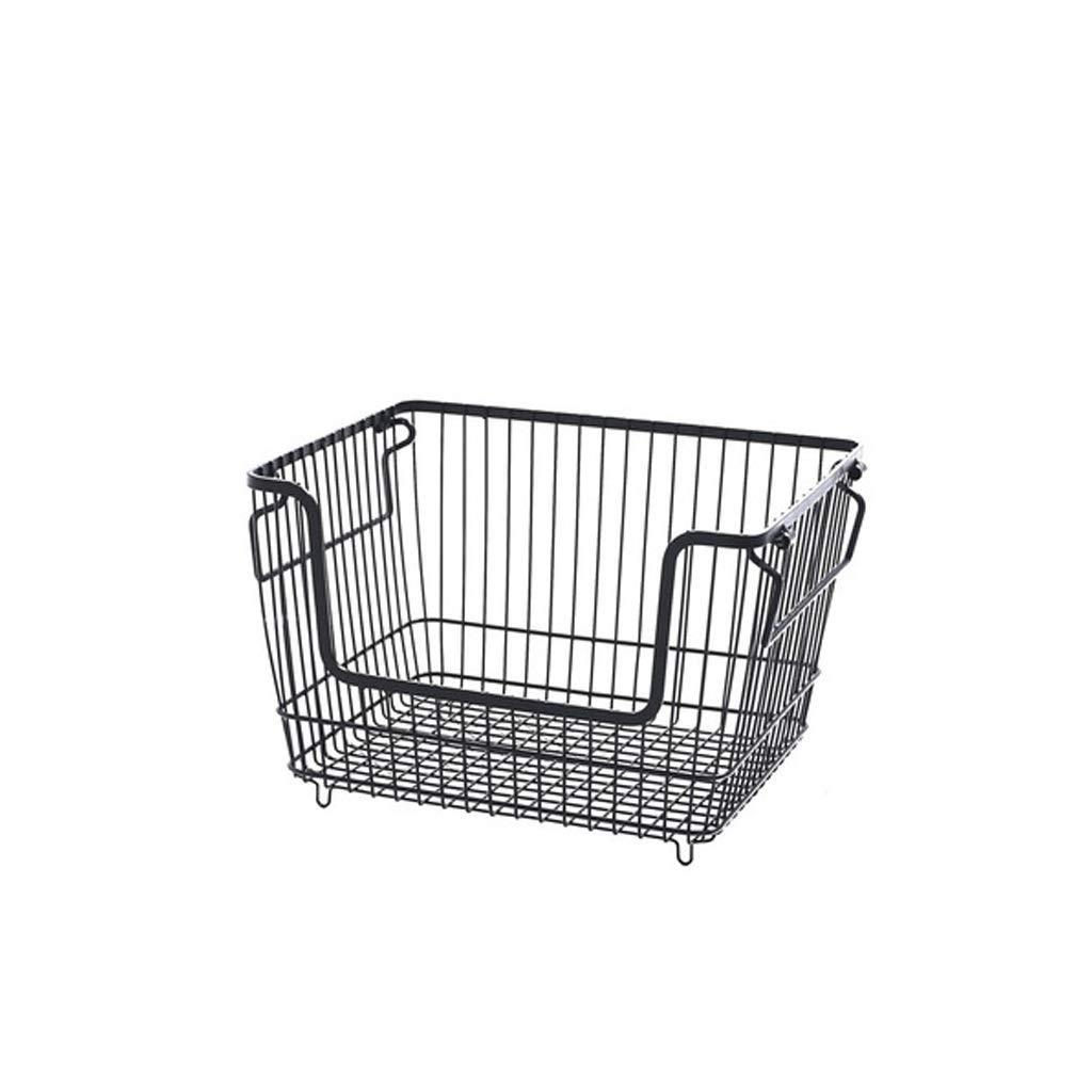 AIWO-PQ Bathroom Storage Basket Metal White Desktop Debris with Handle Storage Basket (Size : Black)