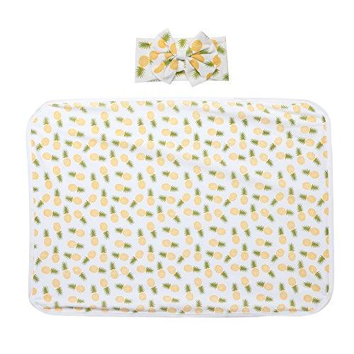 Diamondo 2pcs Baby Infant Swaddle Wrap Blanket Pineapple Print Sleeping Bag Headband by Diamondo (Image #1)