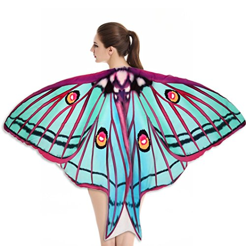 [FeiteFashion Soft Fabric Butterfly Wings Shawl Fairy Ladies Nymph Pixie Costume Accessory (Multicolor] (Pixies Costumes)