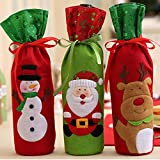 M.Prince 3Pcs/Set Christmas Wine Bottle Cover Bag Drawstring Covers Gift Set for Christmas and New Year Party Decoration(Santa, Reindeer & Snowman)