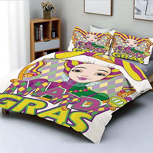 Duplex Print Duvet Cover Set Twin Size,Carnival Girl in Harlequin Costume and Hat Cartoon Fat Tuesday ThemeDecorative 3 Piece Bedding Set with 2 Pillow Sham,Yellow Purple Green,Best Gift For Kids & Ad -