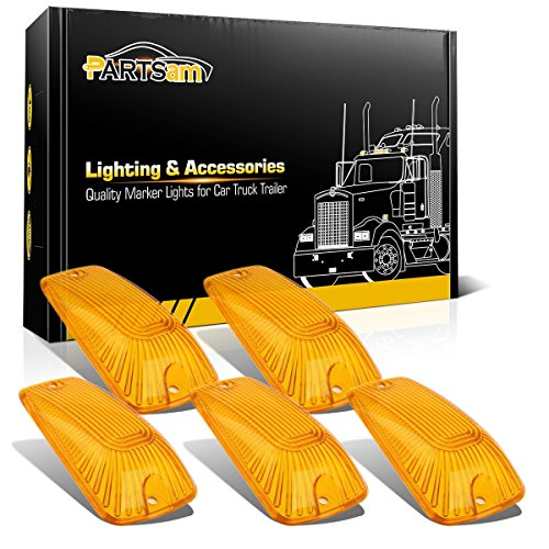 2500 Truck Marker (Partsam Cab Lights Clearance Roof Running Light 5PCS Amber Cab Marker Cover Lens For 1988-2002 Chevy/GMC C/K1500/2500/3500/4500/5500/6500/7500 Kodiak Topkick Trucks)