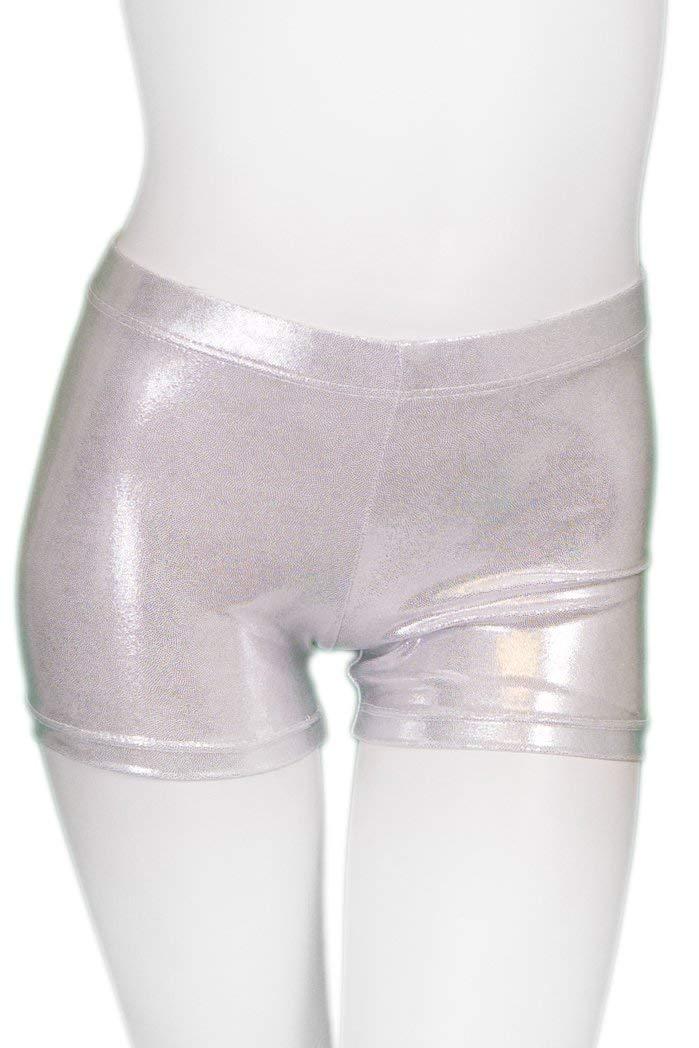 ZIZI Toddler Girls' Sparkle Dance Tumbling Ballet Gymnastics Silver Short 7Y