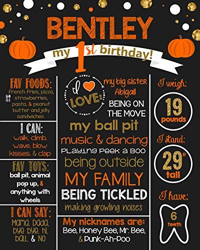 Dozili Personalized Fall - Halloween- Pumpkin Birthday Chalkboard Style Metal Sign- Birthday -Printable Birthday Chalkboard Style Metal Sign- Birthday Board- Personalized Custom Sign]()