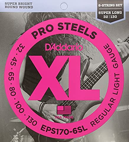 D'Addario EPS170-6SL 6-String ProSteels Bass Guitar Strings, Light, 30-130, Super Long Scale (Dr Bass Guitar Strings For 6)