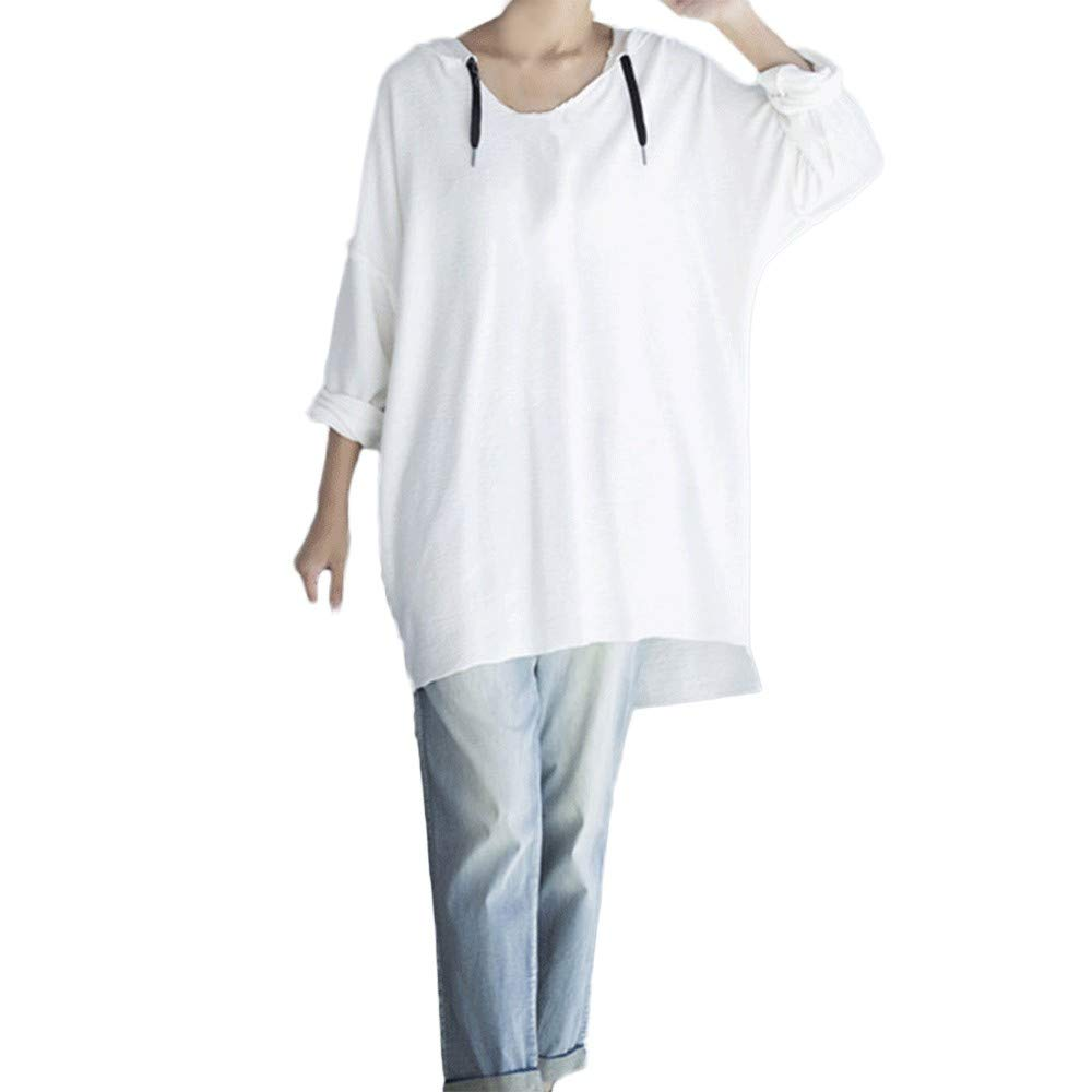 Farjing Women Casual Loose Long Sleeve Solid Sling Hooded Holiday Long Tops Shirt Blouse(M,White) by Farjing