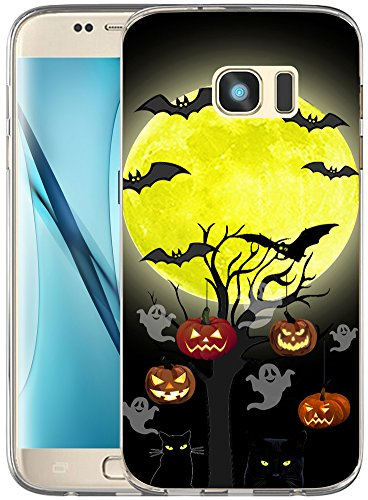 S7 Edge Case Halloween Pumpkin/IWONE Non Slip Durable Transparent Cover Shockproof Compatible for Samsung Galaxy S7 Edge + Halloween Design Gift Present Black Cat Bat -
