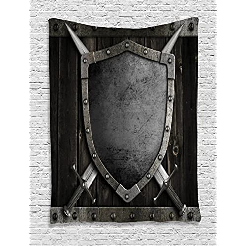 Ambesonne Medieval Decor Collection, Medieval Shield And Crossed Swords On  Wood Gate Safety Security Military Style, Bedroom Living Room Dorm Wall  Hanging ...