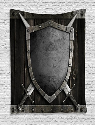 Ambesonne Medieval Decor Collection, Medieval Shield and Crossed Swords on Wood Gate Safety Security Military Style, Bedroom Living Room Dorm Wall Hanging Tapestry, Dark Wood Dimgrey
