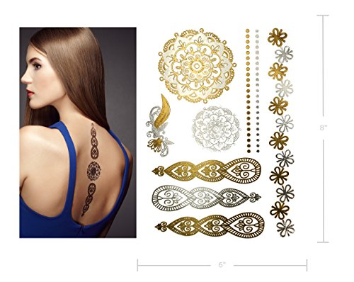 Premium Metallic Henna Tattoos 75 Mandala Mehndi Boho Designs