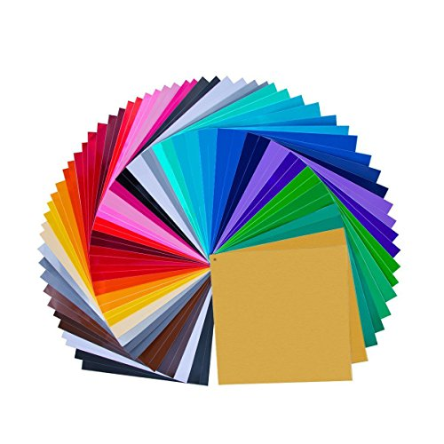 "68 Pack 12"" X 12"" Premium Permanent Self Adhesive Vinyl Sheets-Assorted Colors (32 (Blue Cameo Check)"