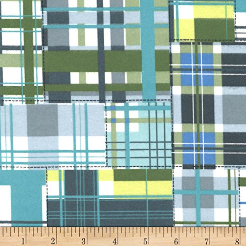 Michael Miller Flannel Fabric - Michael Miller 0575844 Emily Herrick Happy Elephants Flannel Madras Patch Aqua Fabric by The Yard,